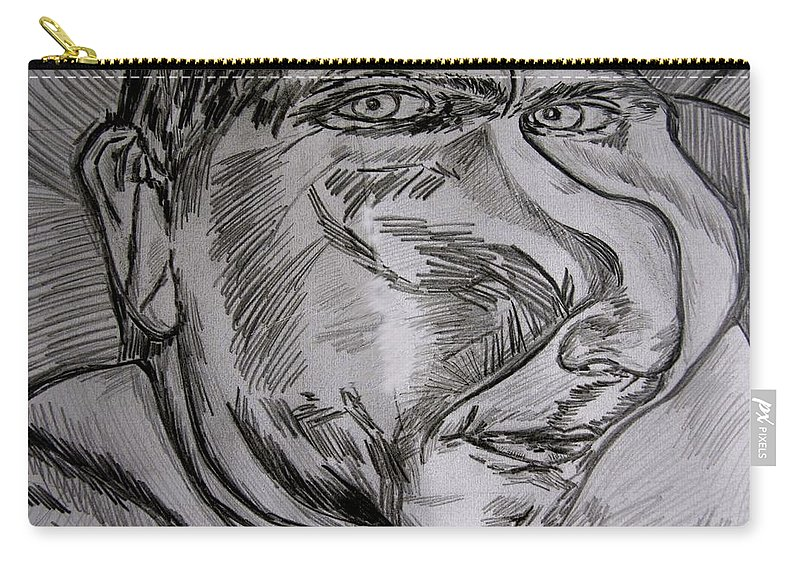 Characatures Carry-all Pouch featuring the drawing Plop by Karen Elzinga
