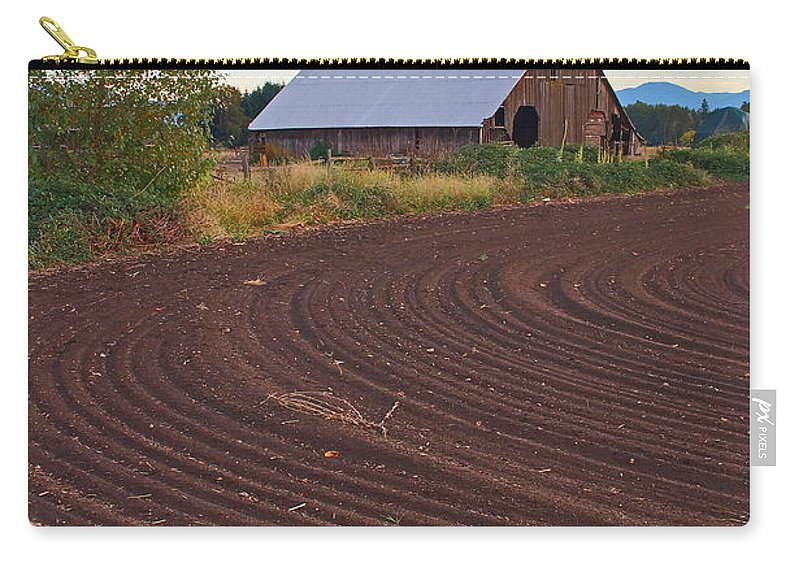 Barn Carry-all Pouch featuring the photograph Plow Designs And A Barn by Mick Anderson