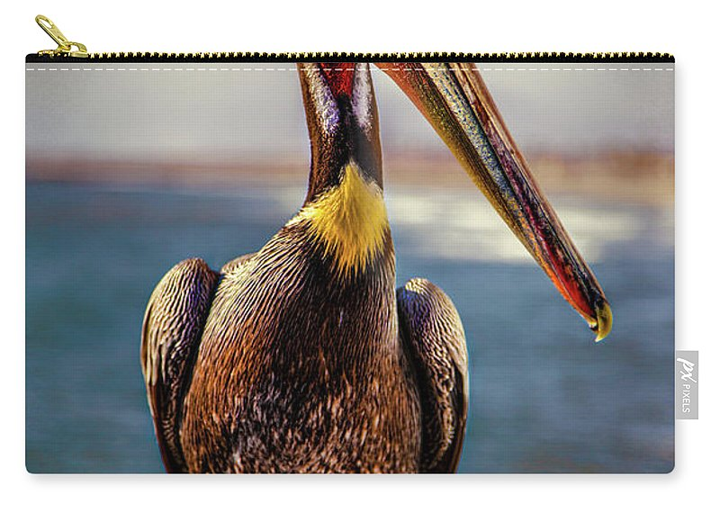 Pelican Carry-all Pouch featuring the photograph Plump Peter Pelican's Pier Photo Pose by Chris Lord