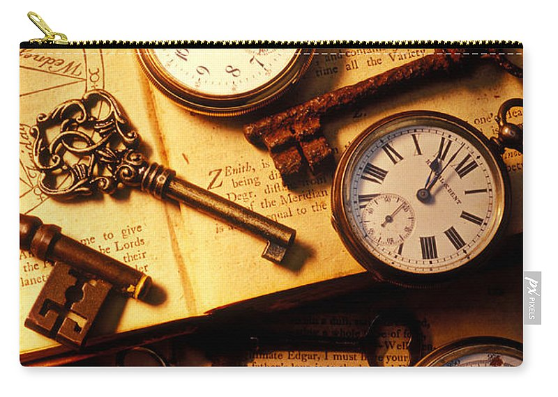 Old Carry-all Pouch featuring the photograph Pocket Watches And Old Keys by Garry Gay
