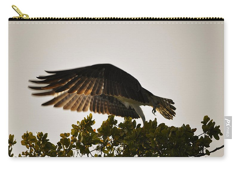 Osprey Taking Flight Carry-all Pouch featuring the photograph Poetry in Motion by Christine Stonebridge