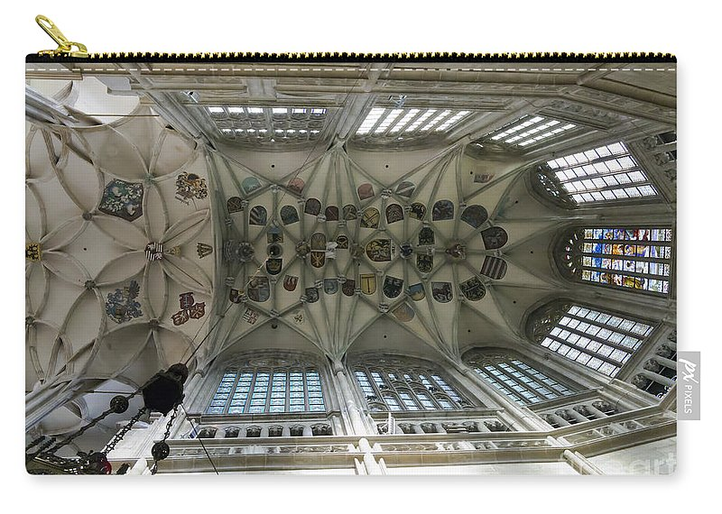 Vault Carry-all Pouch featuring the photograph pointed vault of Saint Barbara church by Michal Boubin