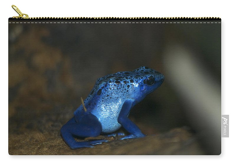 Animals Carry-all Pouch featuring the digital art Poisonous Blue Frog 03 by Thomas Woolworth