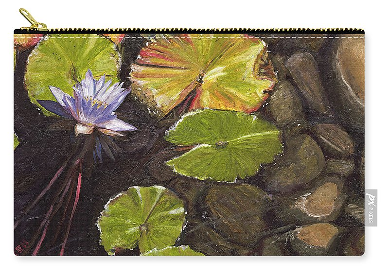 Flower Carry-all Pouch featuring the painting Pond Flower by Susan Hanna