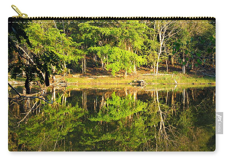 Pond Carry-all Pouch featuring the photograph Pond Reflection Guatemala by Kurt Van Wagner