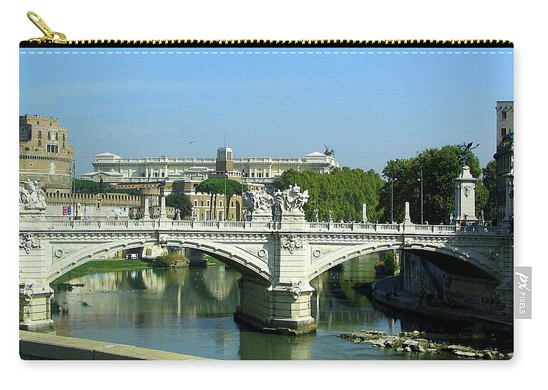 Ponte Sant'angelo Carry-all Pouch featuring the photograph Ponte Sant'angelo In Rome by Carla Parris