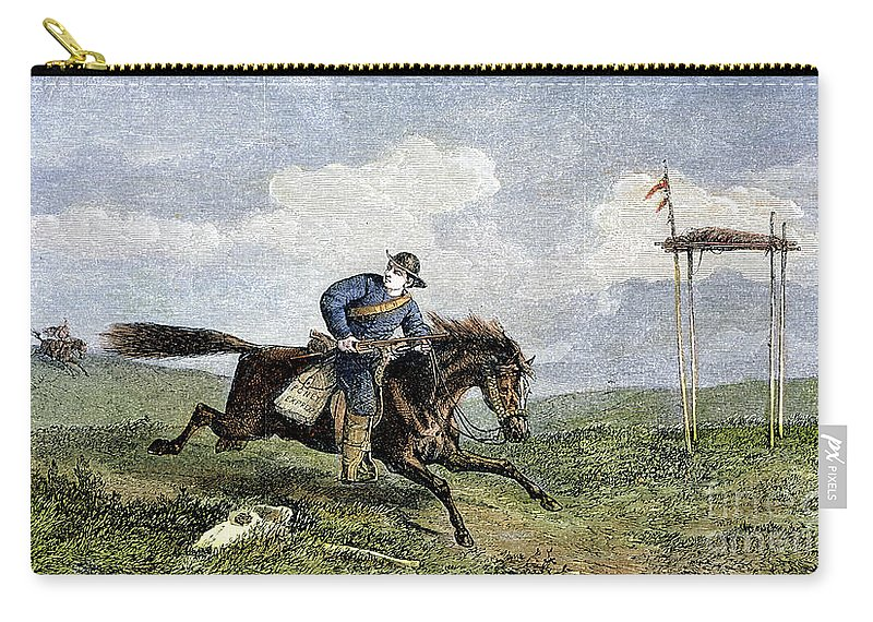 1861 Carry-all Pouch featuring the photograph Pony Express by Granger