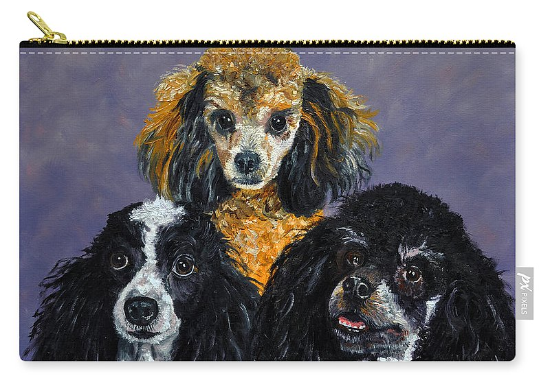 Poodles Carry-all Pouch featuring the painting Poodles by Stan Hamilton