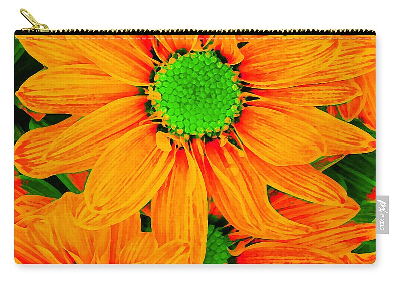 Pop Daisy Carry-all Pouch featuring the digital art Pop Art Daisies 13 by Amy Vangsgard