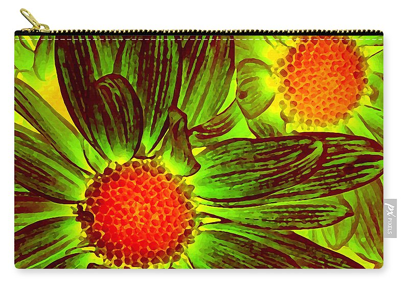 Pop Daisy Carry-all Pouch featuring the painting Pop Art Daisies 5 by Amy Vangsgard