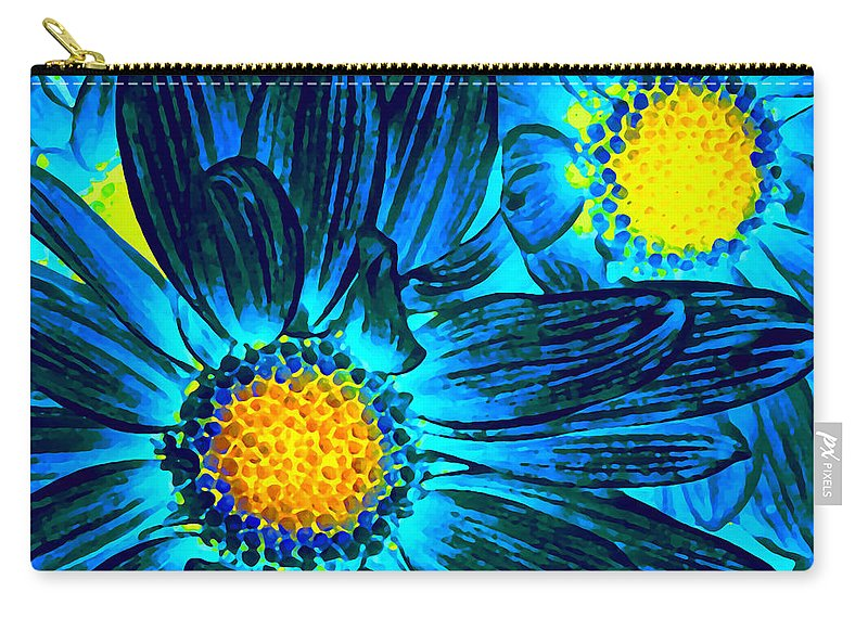 Pop Daisy Carry-all Pouch featuring the photograph Pop Art Daisies 7 by Amy Vangsgard