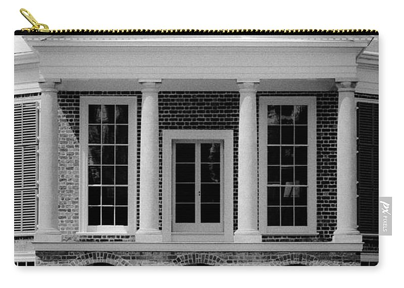Poplar Forest Carry-all Pouch featuring the photograph Poplar Forest South Portico Bw by Teresa Mucha