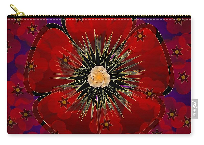 Digital Carry-all Pouch featuring the digital art Poppies 2012 by Kathryn Strick