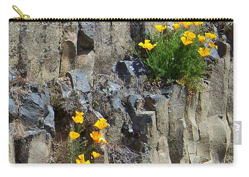 Poppies Carry-all Pouch featuring the photograph Poppies On The Cliff by Charles Robinson