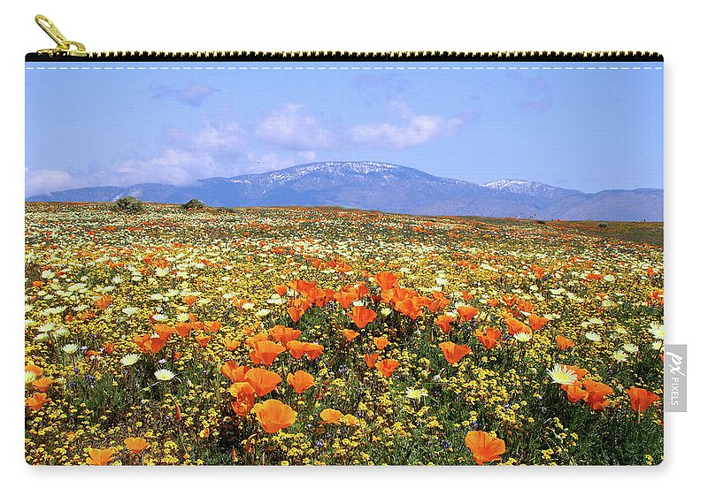 Antelope Valley Carry-all Pouch featuring the photograph Poppies Over The Mountain by Peter Tellone