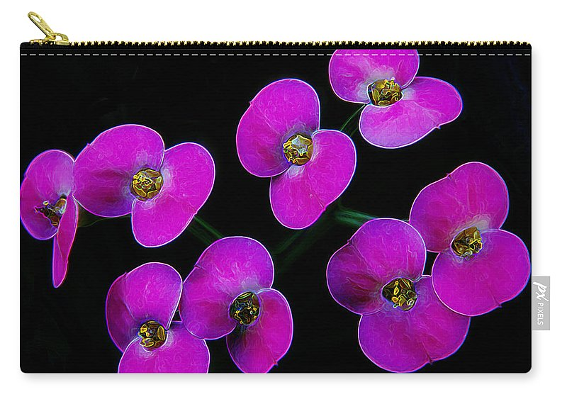 Pink Flower Carry-all Pouch featuring the photograph Poppin Pink Petals by Bill Tiepelman