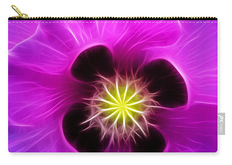 Poppy Carry-all Pouch featuring the digital art Poppy In Pink by Bel Menpes