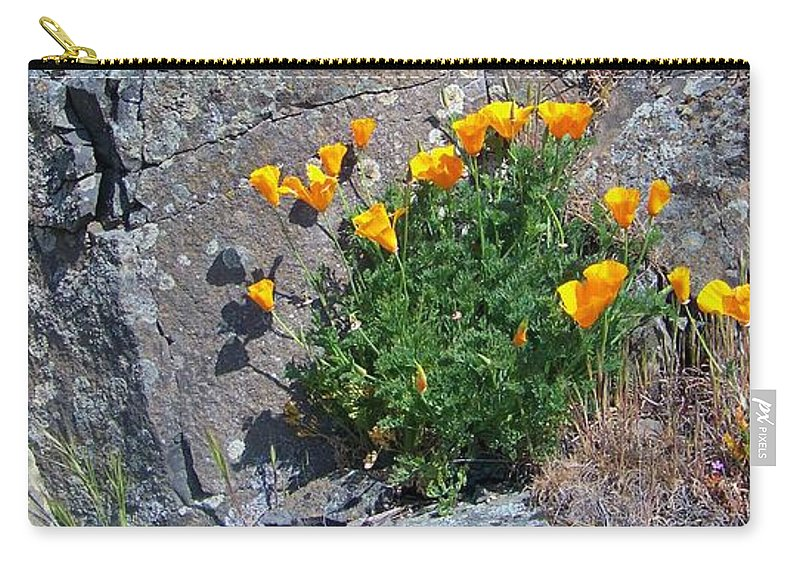 Poppy Carry-all Pouch featuring the photograph Poppy On The Rocks by Charles Robinson