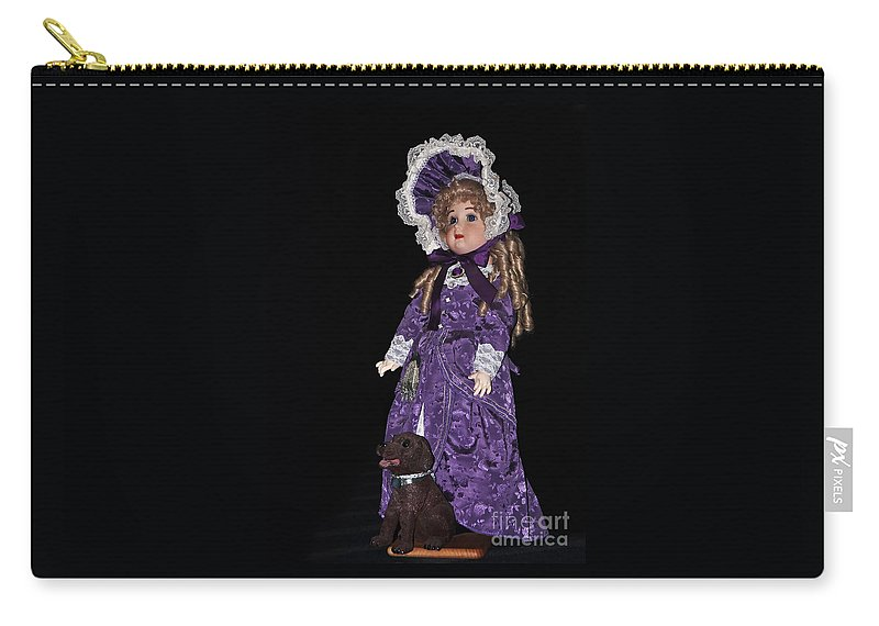 Photography Carry-all Pouch featuring the photograph Porcelain Doll - Full View With Puppy by Kaye Menner