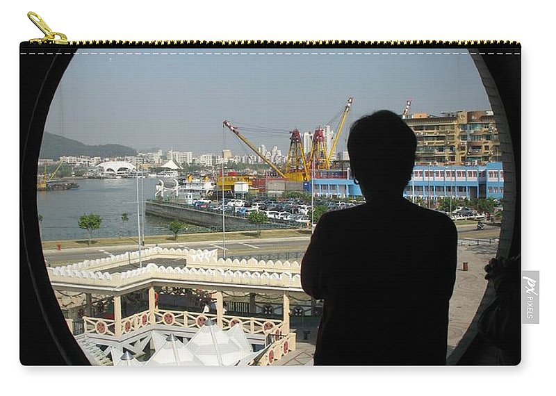 Porthole Carry-all Pouch featuring the photograph Porthole Silhouette by Ian Mcadie