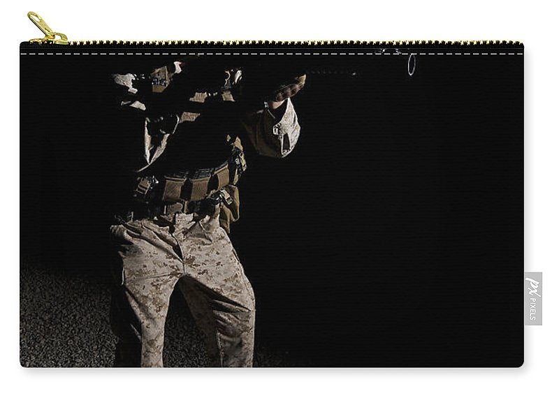 Afghanistan Carry-all Pouch featuring the photograph Portrait Of A U.s. Marine In Northern by Terry Moore