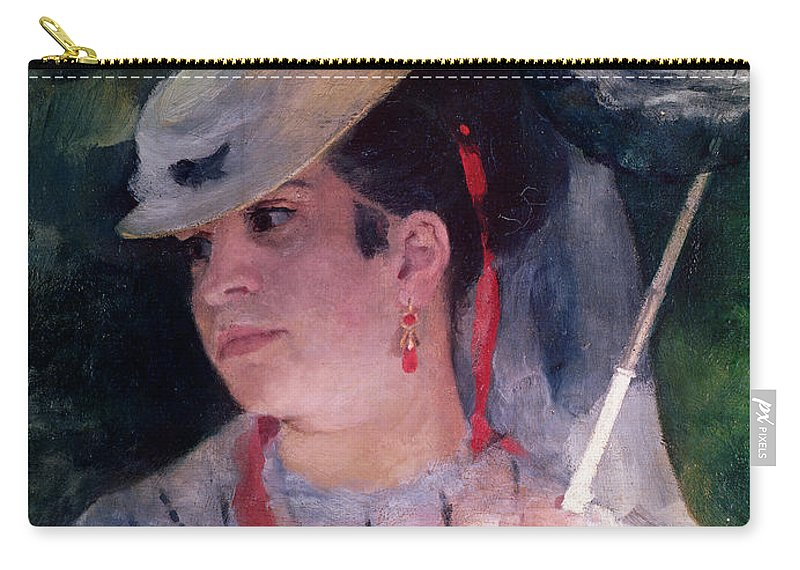 Parasol; White Dress; Female; Impressionist; Lise A L'ombrelle; Detail Du Visage; Hat; Ombrelle; Woman Carry-all Pouch featuring the painting Portrait Of Lise by Pierre Auguste Renoir