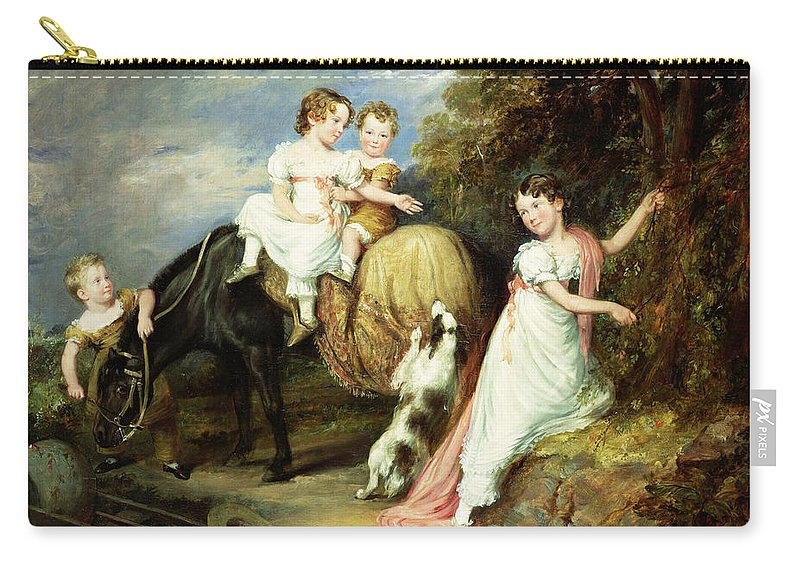 Child; Horse; Group; Grandchildren; Richard Arkwright; Regency; Landscape; Dog; Play; Gentry; Eleanor; Anne Mary; Robert; Charles; Reverand Carry-all Pouch featuring the painting Portraits Of The Children Of The Rev. Joseph Arkwright Of Mark Hall Essex by John Hayter
