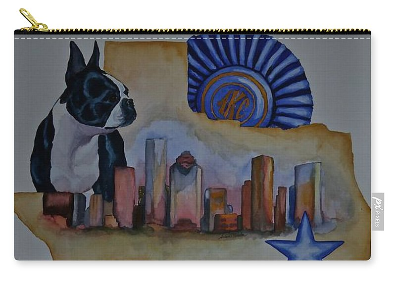 Boston Terrier Carry-all Pouch featuring the painting Poster1 by Susan Herber