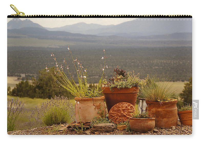 Pots Carry-all Pouch featuring the photograph Pots And Vista by Mick Anderson