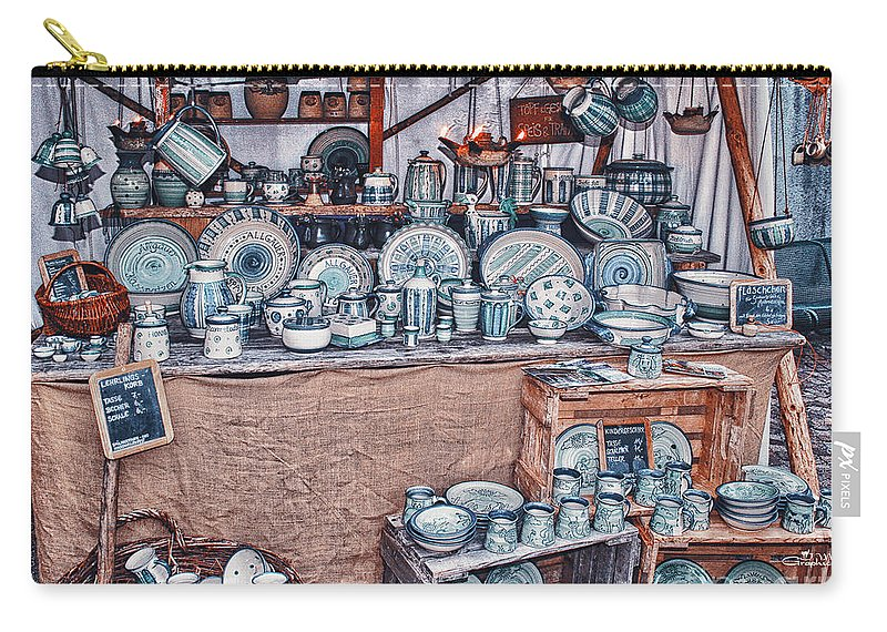Photo Carry-all Pouch featuring the photograph Pottery Market by Jutta Maria Pusl