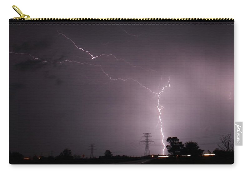 Lightning Carry-all Pouch featuring the photograph Power Grid by Bryan Noll