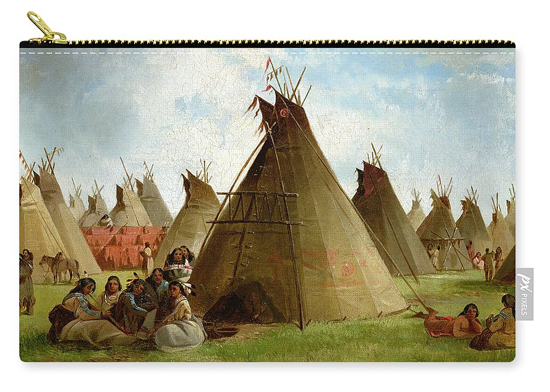 Prairie Carry-all Pouch featuring the painting Prairie Indian Encampment by John Mix Stanley