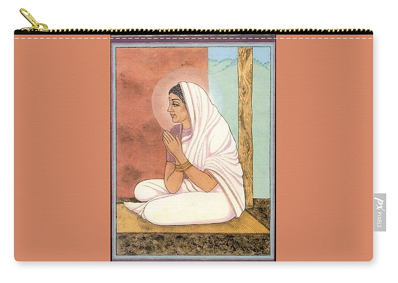 Indian Woman Carry-all Pouch featuring the painting Prayer by Richard Laeton