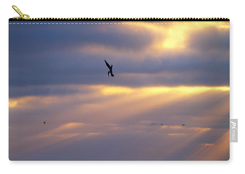 Sunset Carry-all Pouch featuring the photograph Predator Drone In The Minds Of Fish by Joe Schofield