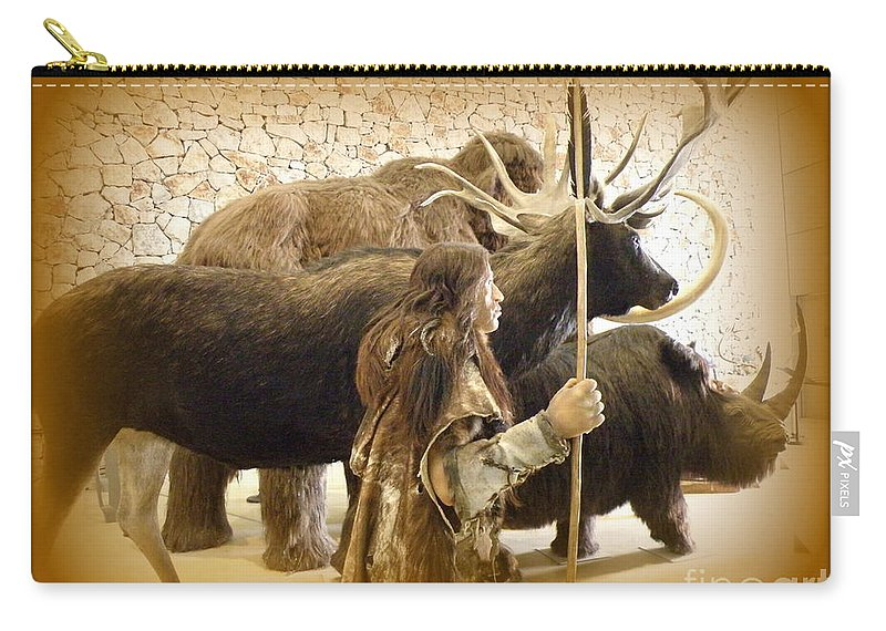 Prehistoric Carry-all Pouch featuring the photograph Prehistoric Man And Friends by Lainie Wrightson