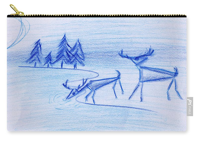 Animals Carry-all Pouch featuring the painting Prehistoric Scenic by John Bowers