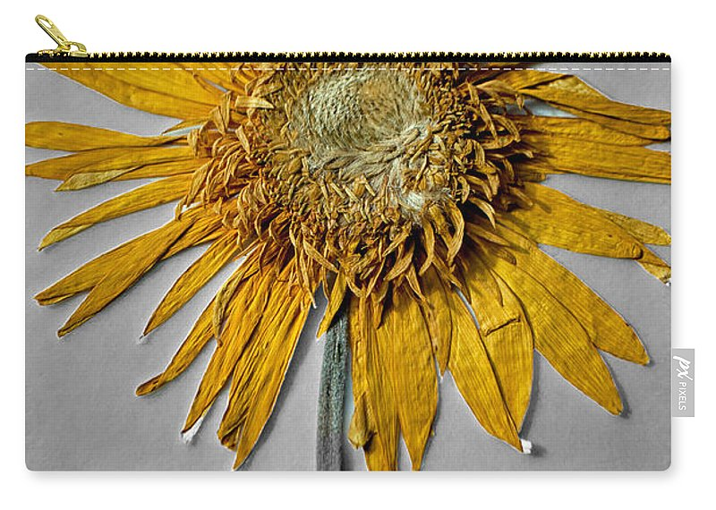 Pressed Carry-all Pouch featuring the photograph Pressed Sunshine Flower by Tikvah's Hope
