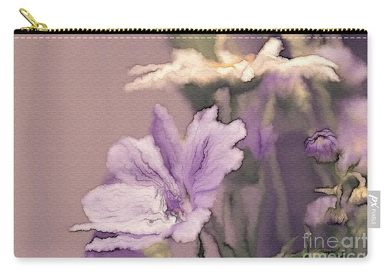 Flowers Carry-all Pouch featuring the digital art Pretty Bouquet - A05t01 by Variance Collections