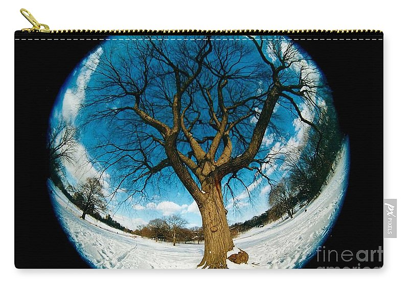 Fisheye Carry-all Pouch featuring the photograph Prospect Park Tree by Mark Gilman
