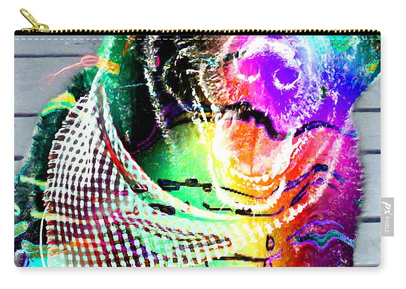 Psychedelic Black Lab With Kerchief Carry-all Pouch featuring the digital art Psychedelic Black Lab With Kerchief by Barbara Griffin