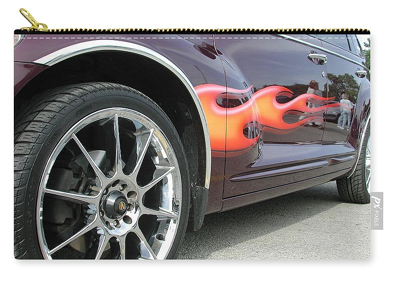 Pt Cruiser Carry-all Pouch featuring the photograph Pt With Flames by Thomas Woolworth