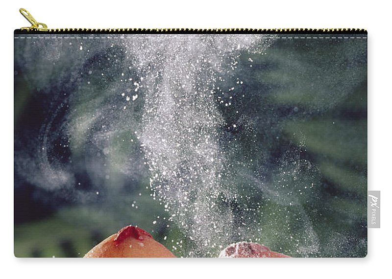 00511067 Carry-all Pouch featuring the photograph Puffballs Releasing Spores by Michael and Patricia Fogden