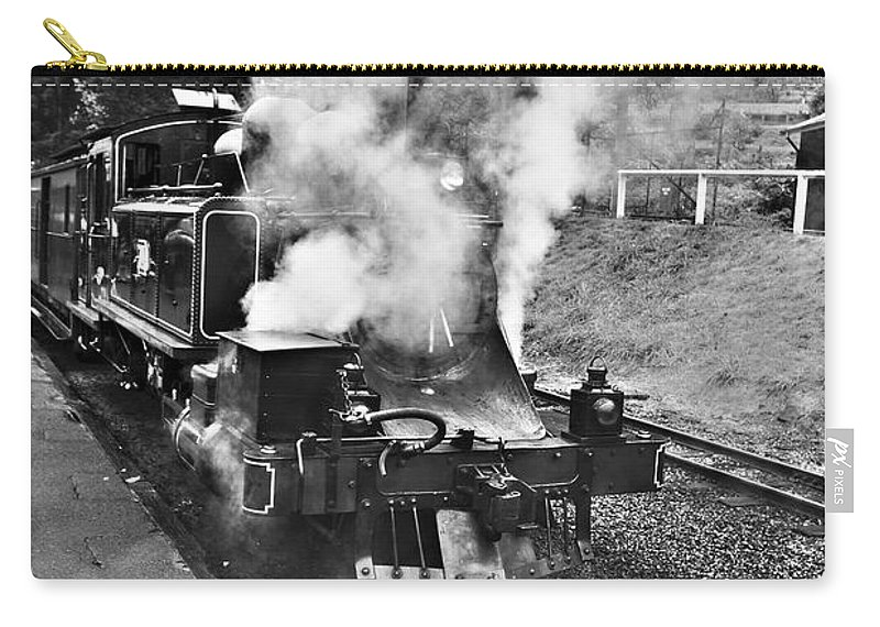 Puffing Billy Carry-all Pouch featuring the photograph Puffing Billy Black And White by Douglas Barnard