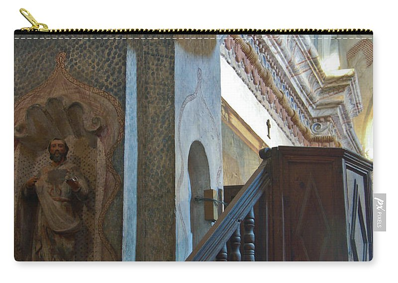 San Xavier De Bac Mission Carry-all Pouch featuring the photograph Pulpit San Xavier Mission by Jon Berghoff