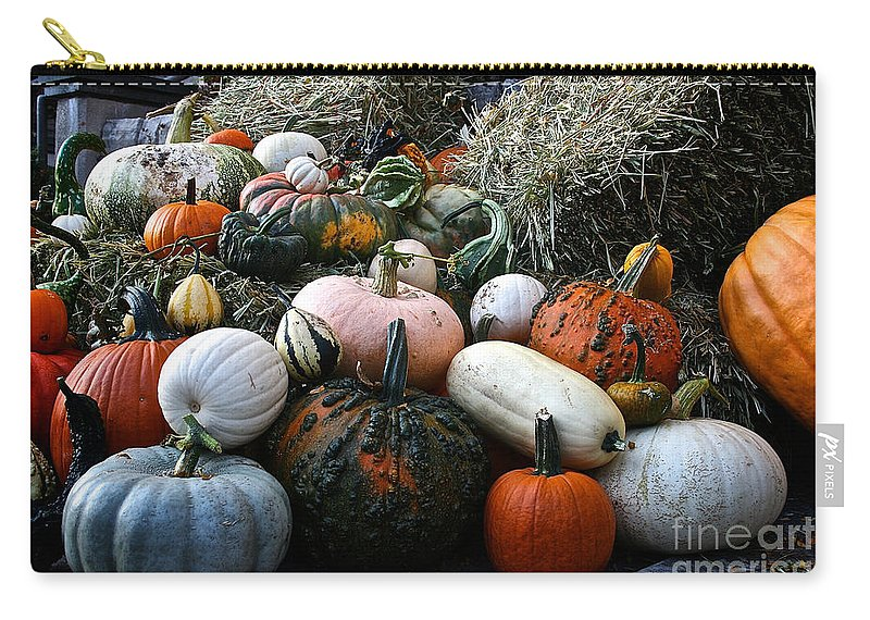 Outdoors Carry-all Pouch featuring the photograph Pumpkin Piles by Susan Herber