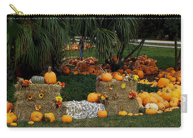 Pumpkins Carry-all Pouch featuring the photograph Pumpkins Under The Palms by DigiArt Diaries by Vicky B Fuller