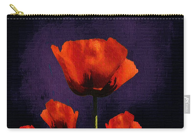 Poppies Carry-all Pouch featuring the digital art Puppies Fun - 01c by Variance Collections