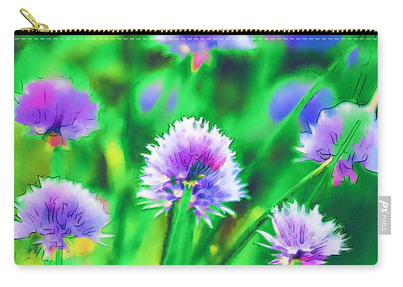 Chives Carry-all Pouch featuring the photograph Purple And Green Chive Watercolor by Kathy Clark