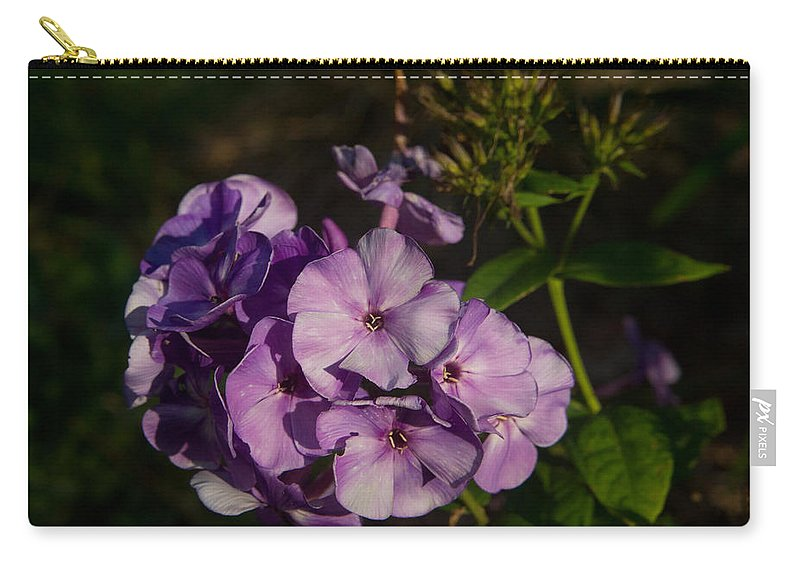 Purple Carry-all Pouch featuring the photograph Purple Cluster Of Flowers by Douglas Barnett