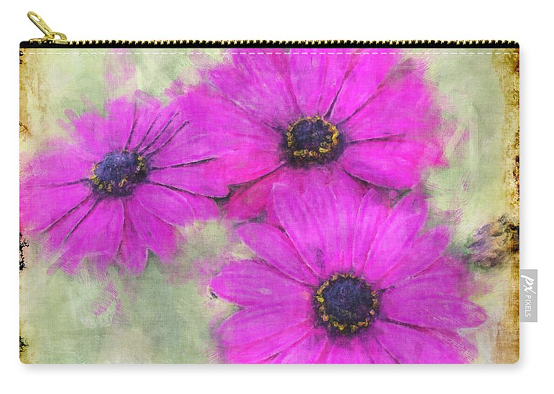Nature Carry-all Pouch featuring the digital art Purple Daisy Trio II by Debbie Portwood